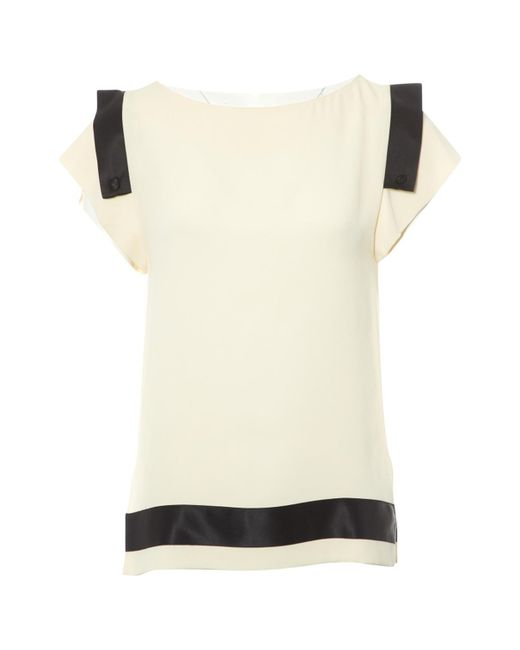 Chanel - Natural Ecru Silk Top - Lyst