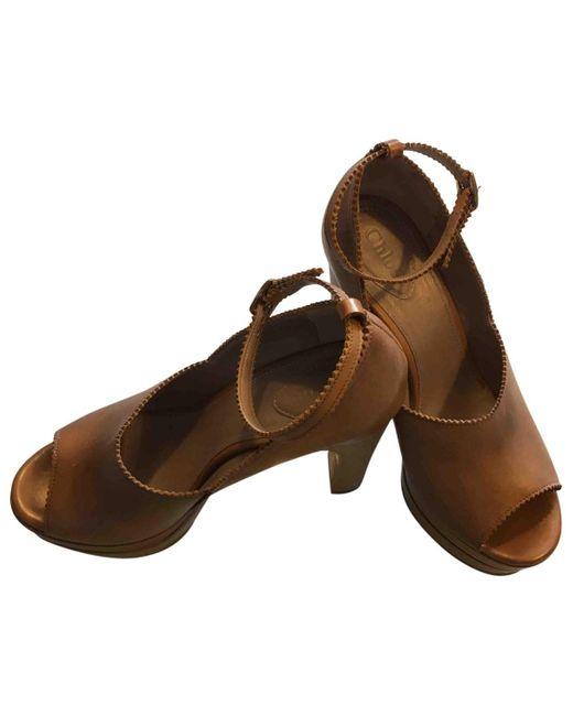 Chloé Sandalias de Cuero de mujer de color marrón