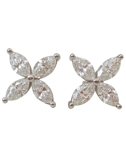 Tiffany & Co - Pre-owned Victoria White Platinum Earrings - Lyst