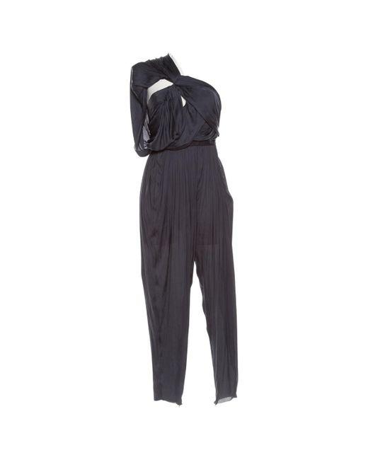 Lanvin - Blue Navy Polyester Jumpsuits - Lyst