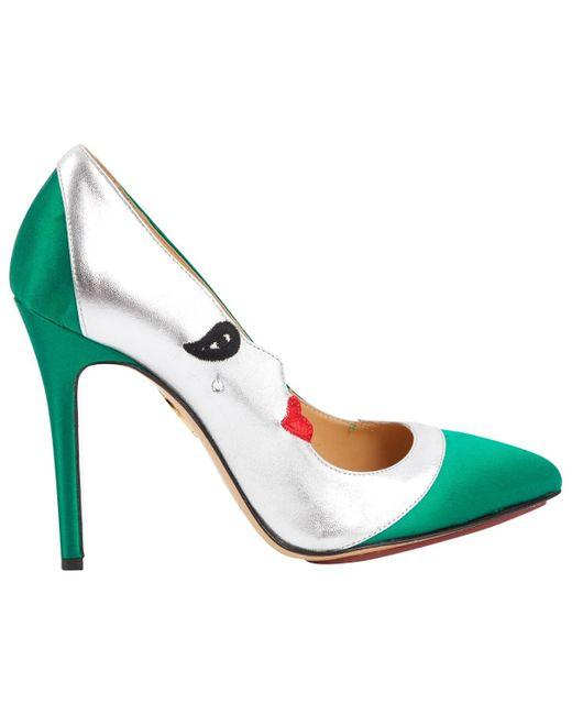 Escarpins en Toile Multicolore Charlotte Olympia en coloris Green
