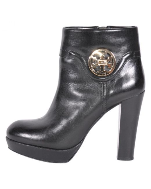 Tory Burch - Black Leather Biker Boots - Lyst