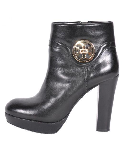 Tory Burch - Black Leather Biker Boots - Lyst