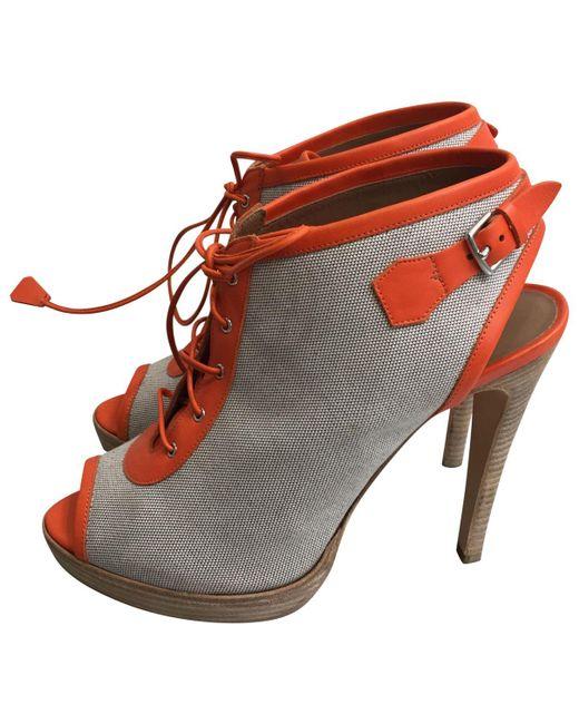 Hermès - Gray Cloth Sandals - Lyst