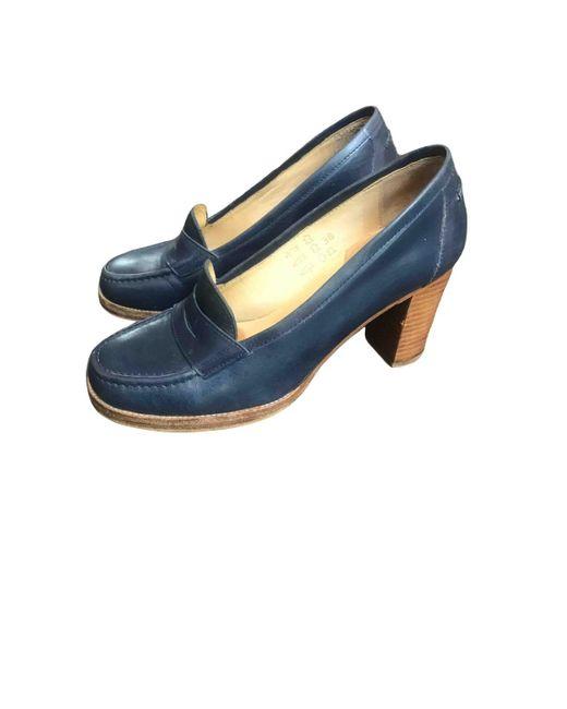 A.P.C. Tacones de Cuero de mujer de color azul