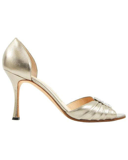 Manolo Blahnik - Metallic Pre-owned Leather Heels - Lyst