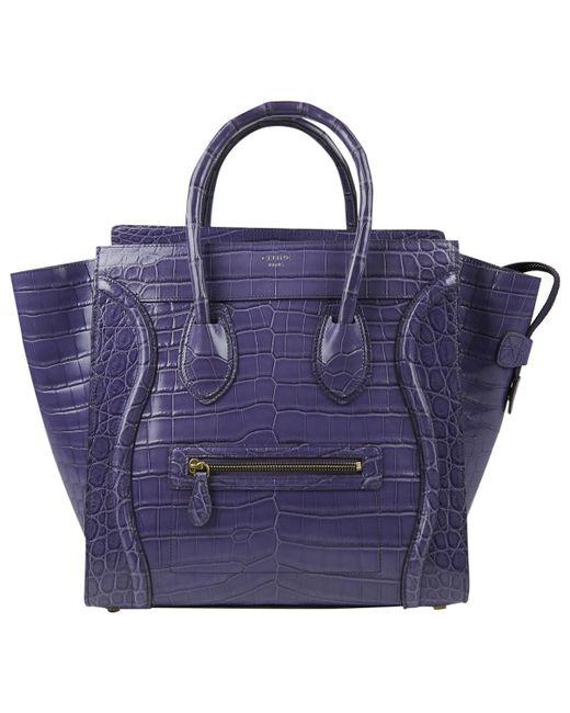 55dc9a5a99de Céline - Purple Luggage Crocodile Tote - Lyst ...