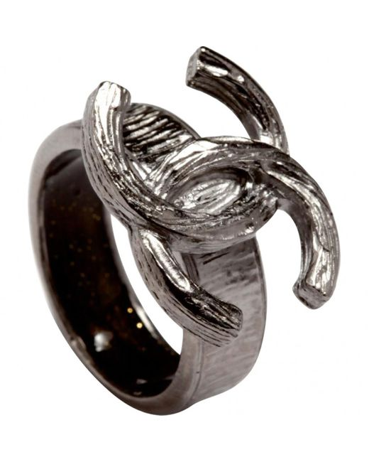 Chanel - Metallic Silver Metal Ring - Lyst