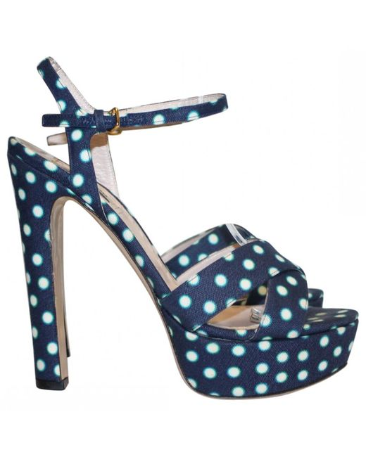 Miu Miu | Blue Polka-dot Sandals | Lyst