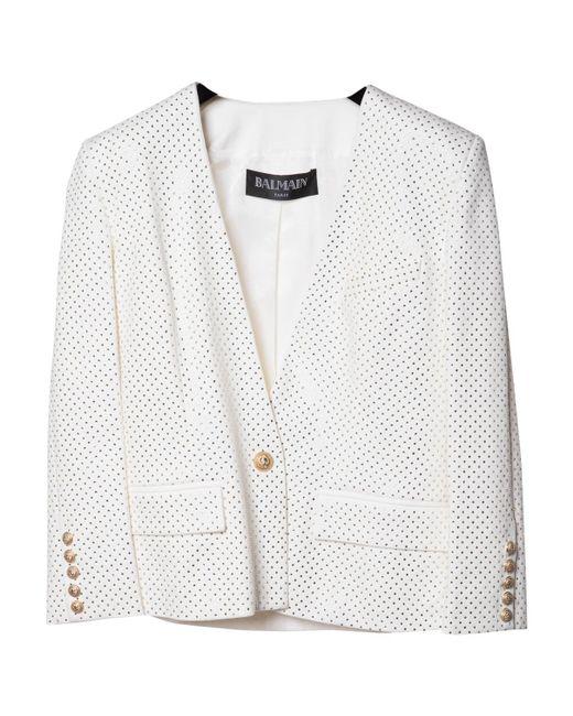 Balmain | Pre-owned White Cotton Jacket | Lyst