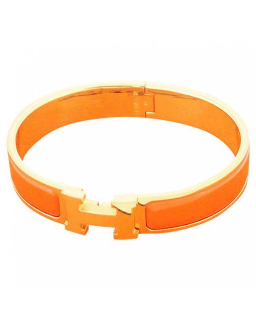 Hermès - Orange Clic H Other Metal Bracelets - Lyst