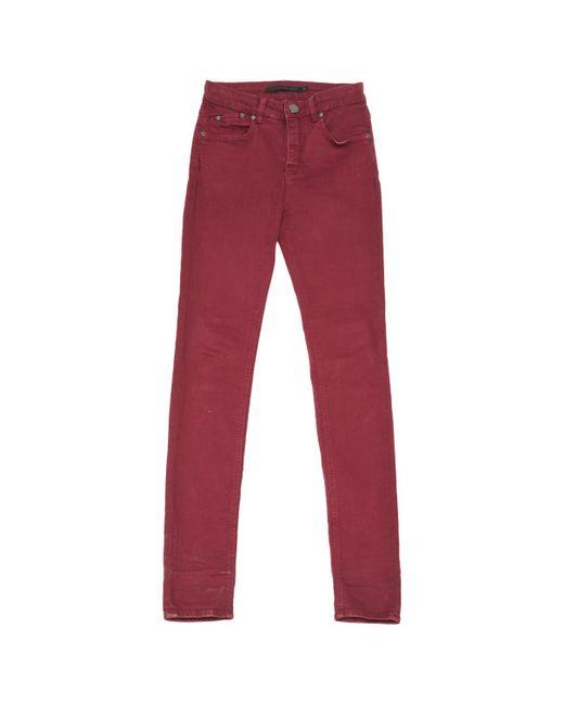 Victoria Beckham - Red Burgundy Cotton - Elasthane Jeans - Lyst