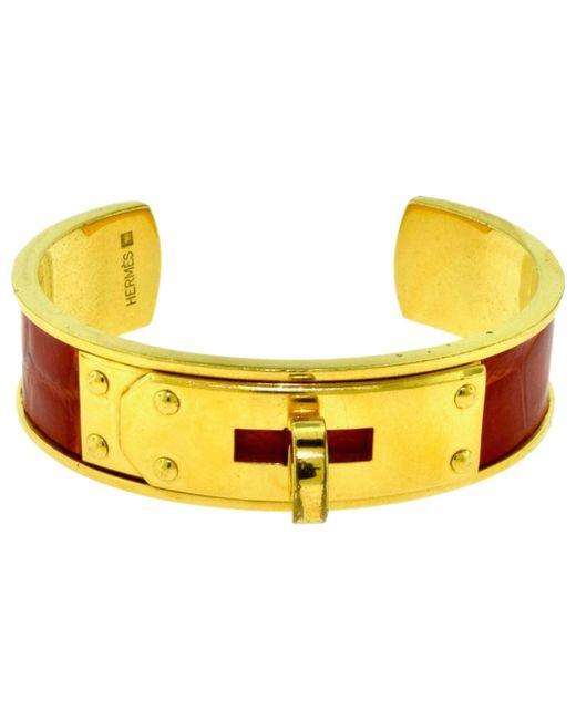 Hermès - Pre-owned Vintage Kelly Yellow Metal Bracelets - Lyst