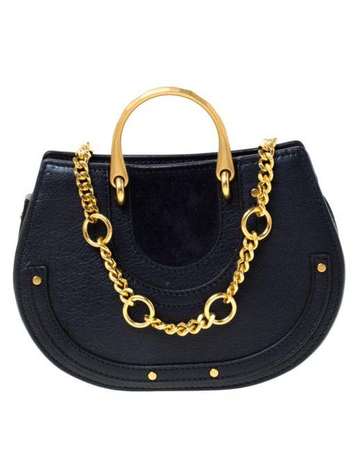 Chloé Blue Pixie Navy Leather Handbag
