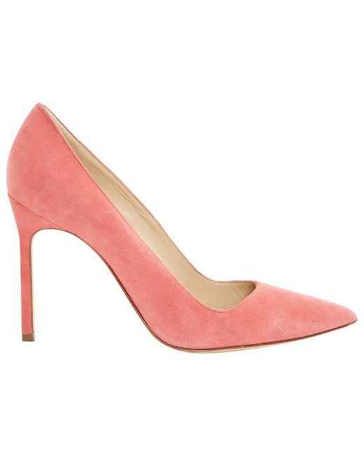50cf8826a771 Manolo Blahnik - Pink Suede Heels - Lyst ...