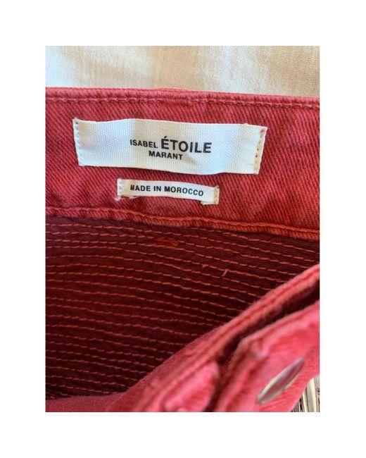 Étoile Isabel Marant Pantalons en Coton Rouge femme FJBKB