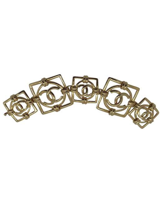 Chanel - Metallic Gold Metal Bracelet - Lyst