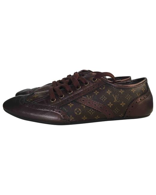 Louis Vuitton | Brown Pre-owned Cloth Trainers | Lyst