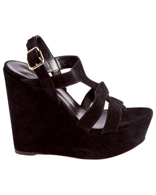 Gianvito Rossi - Black Suede Sandals - Lyst