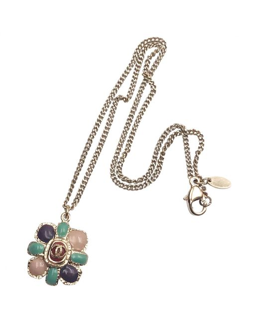 Chanel - Metallic Gold Metal Necklace - Lyst