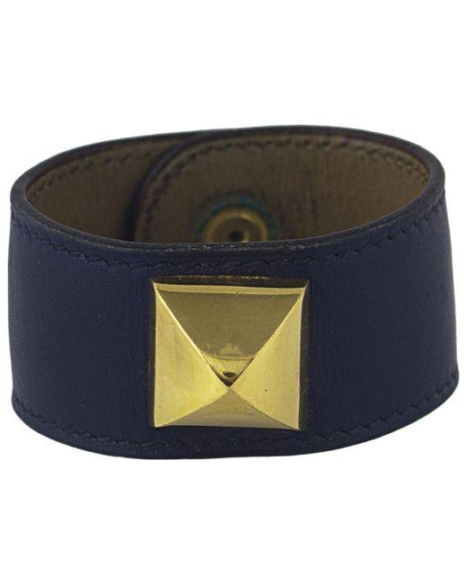 Hermès - Blue Pre-owned Médor Leather Bracelet - Lyst