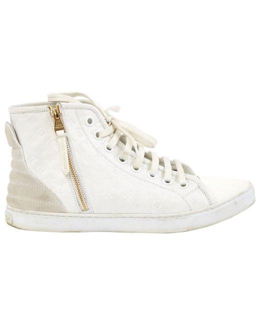 50e48e8db5b9 Lyst - Louis Vuitton White Leather Trainers in White