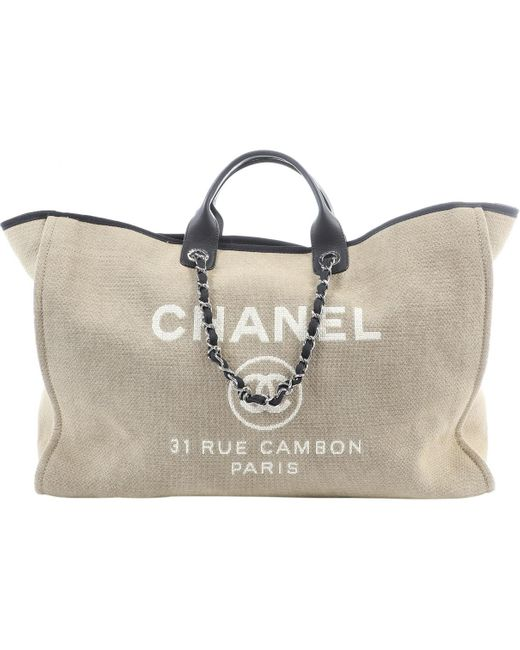 Chanel Natural Deauville Beige Cloth Travel Bag