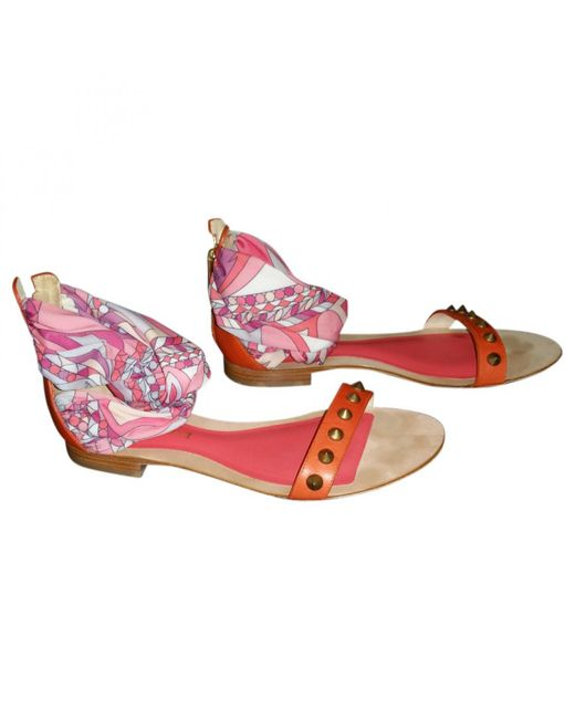 Emilio Pucci - Orange Pre-owned Leather Sandals - Lyst