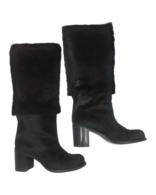 Chanel - Black Pre-owned Pony-style Calfskin Snow Boots - Lyst