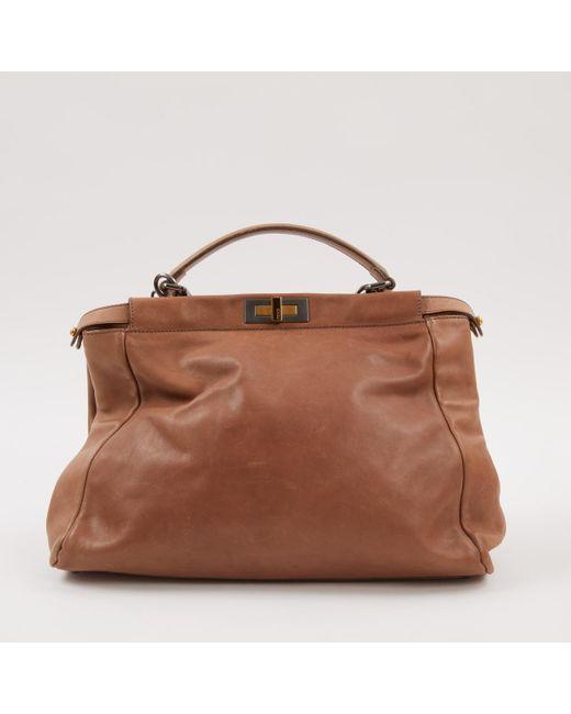 22b04d12dd Lyst - Fendi Pre-owned Peekaboo Brown Leather Handbags in Brown