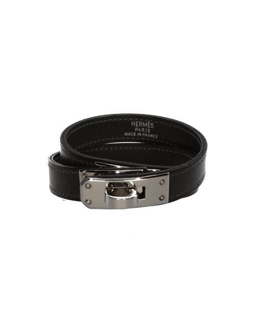 Hermès - Black Pre-owned Kelly Double Tour Leather Bracelet - Lyst