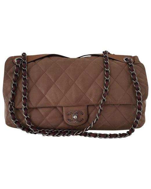 91bbe6980a48 Lyst - Sac bandoulière en cuir Chanel en coloris Marron
