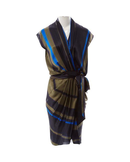 Robe en Soie Multicolore Lanvin en coloris Blue
