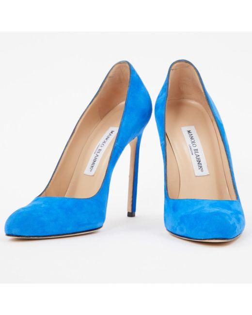 4fe262130f6b ... Manolo Blahnik - Blue Suede Heels - Lyst ...
