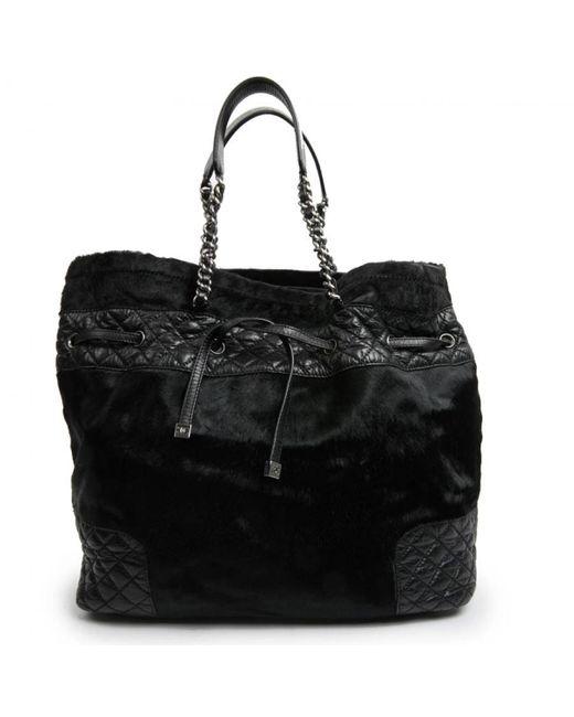 Chanel Black Kalbsleder in pony-optik Shopper