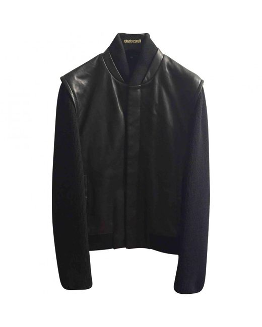 Roberto Cavalli - Black Leather Jacket for Men - Lyst