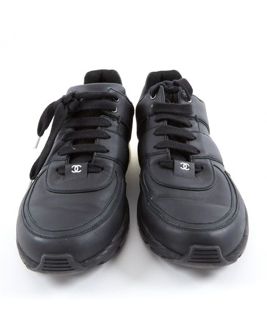 4f986fd43 Lyst - Chanel Black Leather Trainers in Black for Men