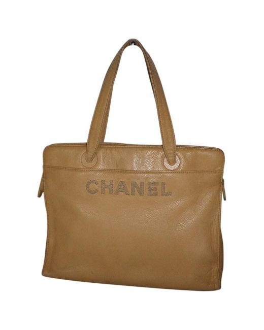 Chanel Natural Beige Leather Handbag