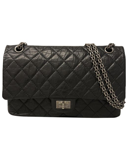 Lyst - Chanel 2.55 Leather Crossbody Bag in Black d3235e116631a