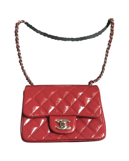 842a630ddf83 Chanel Timeless Patent Leather Crossbody Bag in Red - Lyst