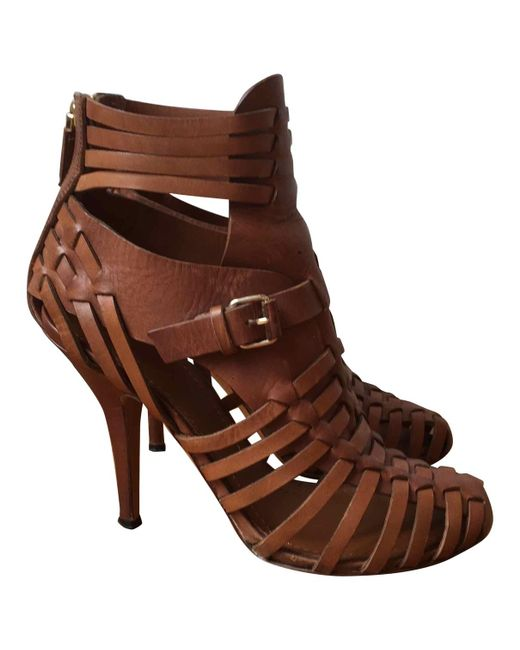 Givenchy - Brown Pre-owned Camel Leather Sandals - Lyst
