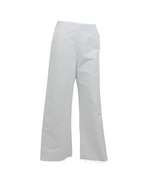 Maje - White Cotton Trousers - Lyst