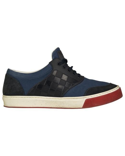 Louis Vuitton - Blue Pre-owned Leather Low Trainers for Men - Lyst