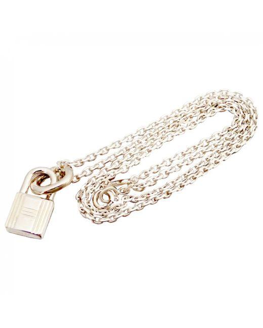 Hermès - Metallic Collier Amulette en argent - Lyst