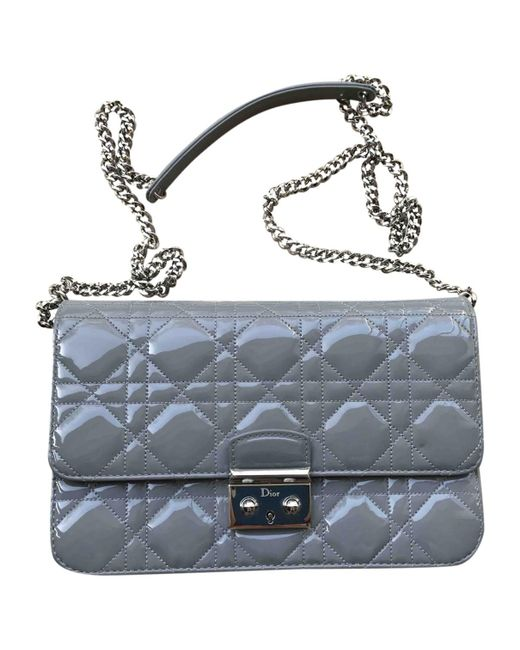 Dior - Gray Pre-owned Miss Grey Patent Leather Handbags - Lyst