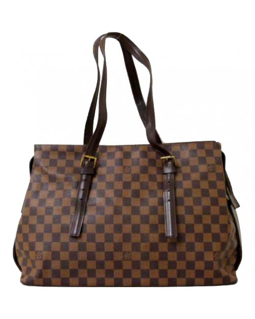 Louis Vuitton - Brown Pre-owned Cloth Tote - Lyst