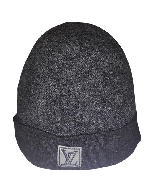 5b0523f5880 Lyst - Louis Vuitton Anthracite Wool Hats   Pull On Hats in Gray for Men