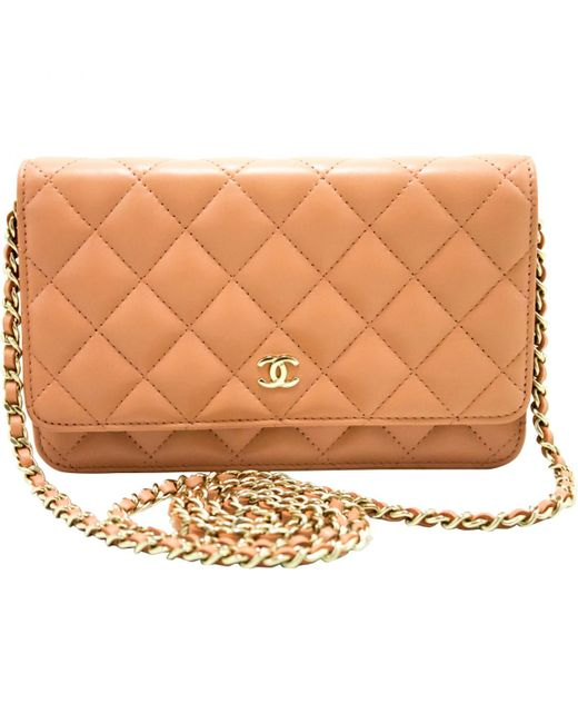 Women S Pre Owned Wallet On Chain Pink Leather Handbags