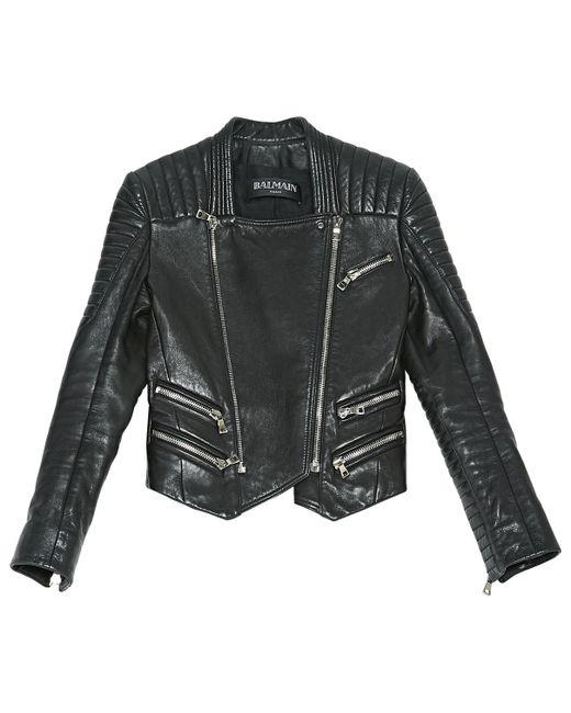 Balmain - Black Leather Biker Jacket - Lyst