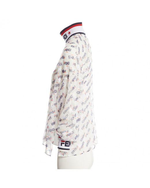 c1127622eda0c Fendi X Fila High Neck Blouse in White - Save 37% - Lyst